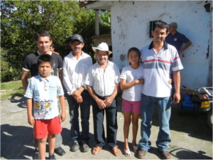 Fabian and members of his families in Narino, Colombia