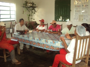 with the workers at the farm during a Fair Trade committee meeting