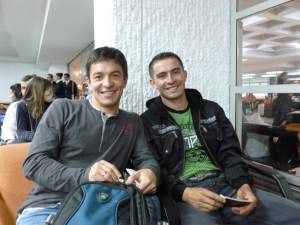 Mario and Fabian at the airport, on their way back home from the SCAA conference in Portland