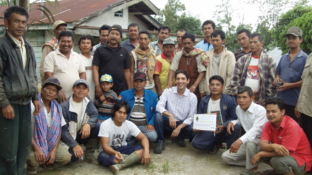With small-scale coffee farmers from the Mariah Dolok village when we met to discuss Fair Trade certification