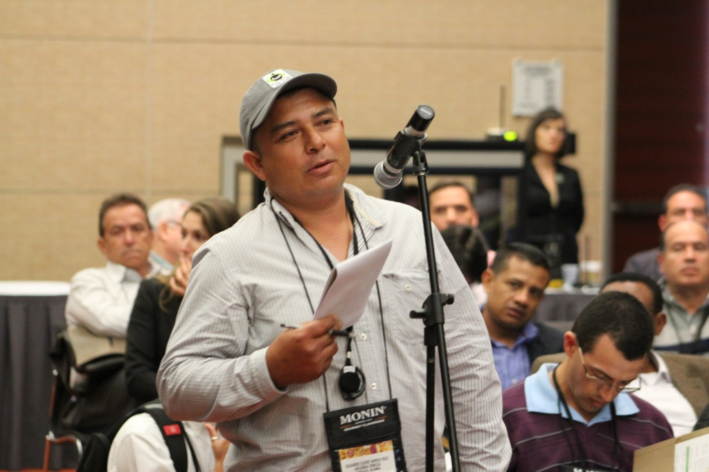 Eliover speaks at Fair Trade USA producer forum at SCAA