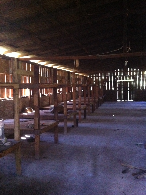 Farmworker housing in Central America - men, women and children will live here for 2-3 months during the coffee harvest