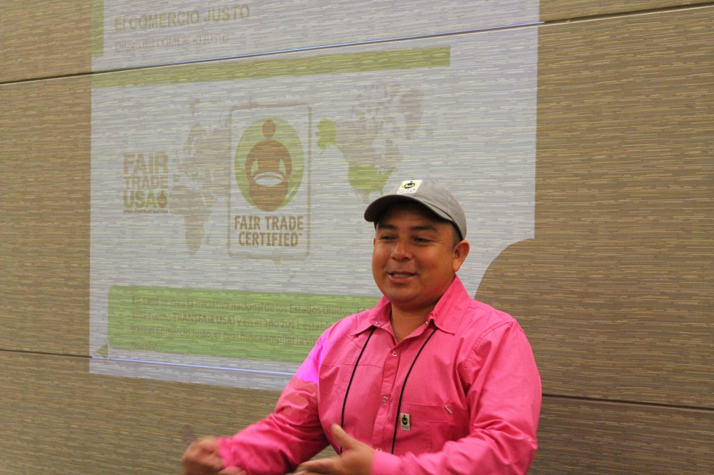 Eliover presents about the work in his farm during the SCAA show in Boston