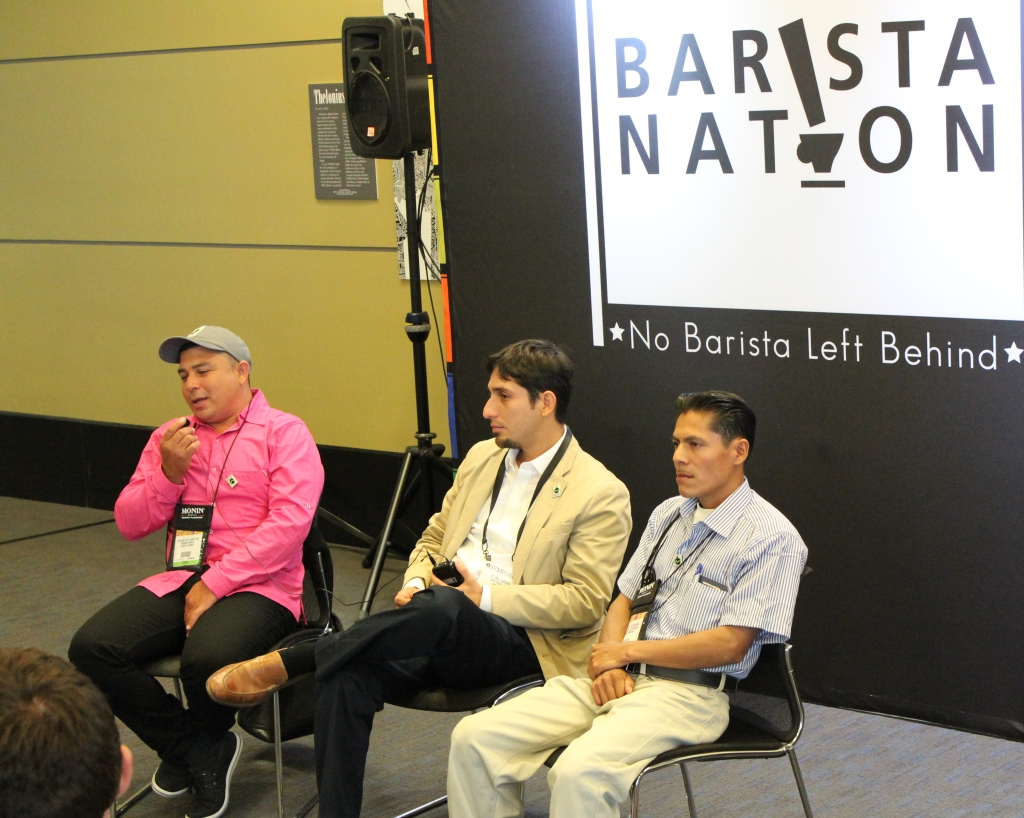 Eliover talks about the situation of farm workers in Colombia at Barista Nation talk during SCAA 2013 show in Boston
