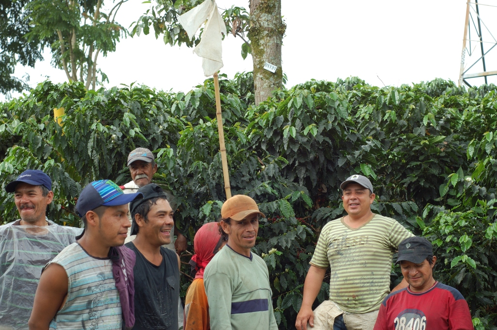 Eliover with other farm workers at Hacienda Venecia in Colombia